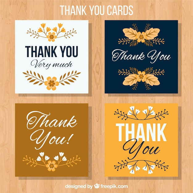 Gold and blue thank you cards Free Vector