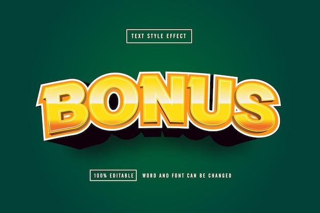 Gold bonus text effect editable Premium Vector