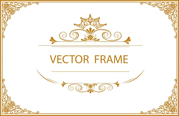 Gold Border Frame Floral With Corner Vector Premium Download