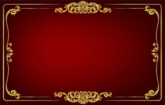 Gold border and frame template with corner thailand line floral for picture Premium Vector