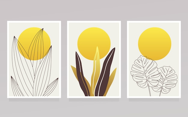 Gold botanical cover collection and yellow sun Free Vector