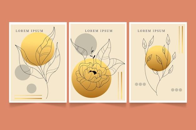 Золотая коллекция ботанических обложек Бесплатные векторы