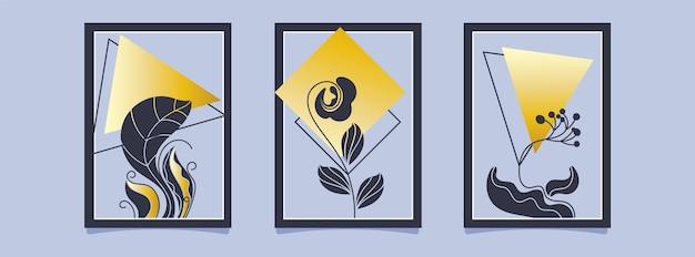 골드 식물 커버 컬렉션 무료 벡터