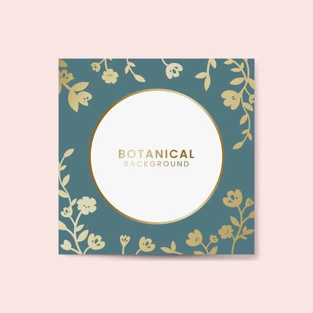 Gold botanical round framed vector Free Vector