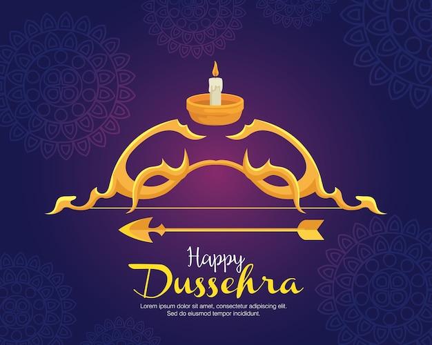 만다라 배경 디자인, 해피 Dussehra 축제 및 인도 테마 블루에 화살표와 촛불 골드 활 프리미엄 벡터