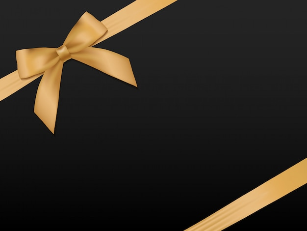 Gold bow with ribbons. shiny holiday gold satin ribbon on black background Premium Vector