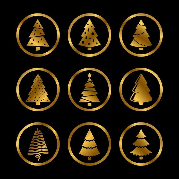 골드 밝은 실루엣 크리스마스 트리 양식 된 아이콘 블랙 프리미엄 벡터