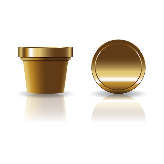 Gold brown cosmetic or food round cup with lid. Premium Vector