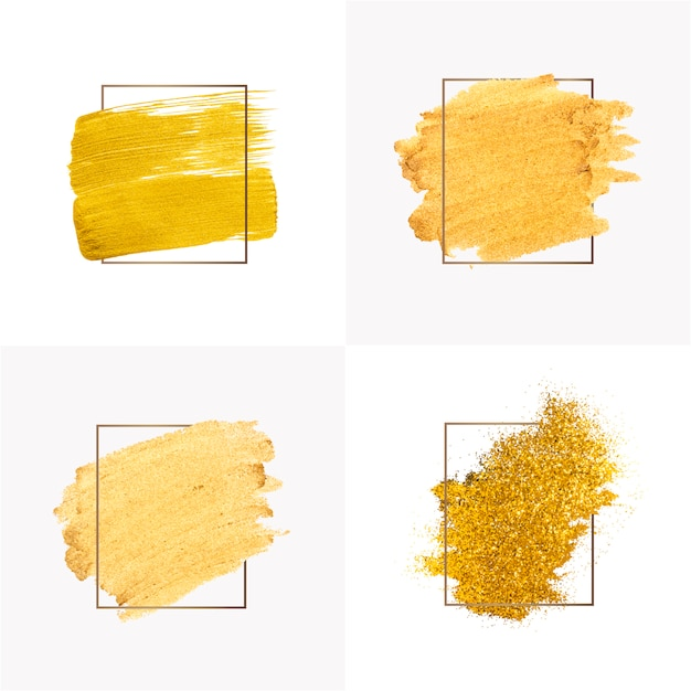 Gold brush strokes collection Free Vector