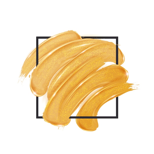 Gold brush strokes inside a square Premium Vector