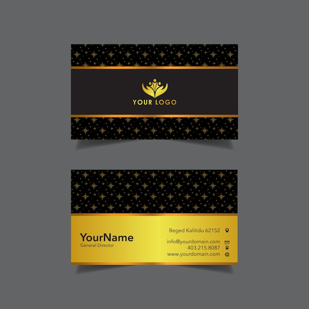 Gold business card with star pattern vector premium download gold business card with star pattern premium vector reheart Choice Image