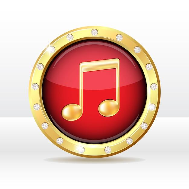 音符記号の付いたゴールドボタン。音楽アイコン。図 Premiumベクター