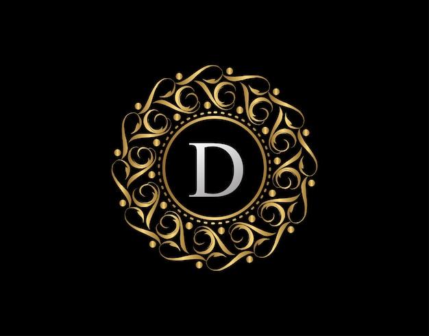 文字dの金のカリグラフィバッジ。装飾用の豪華な黄金のロゴ。 Premiumベクター