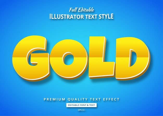 Gold cartoon 3d text style effect Premium Vector