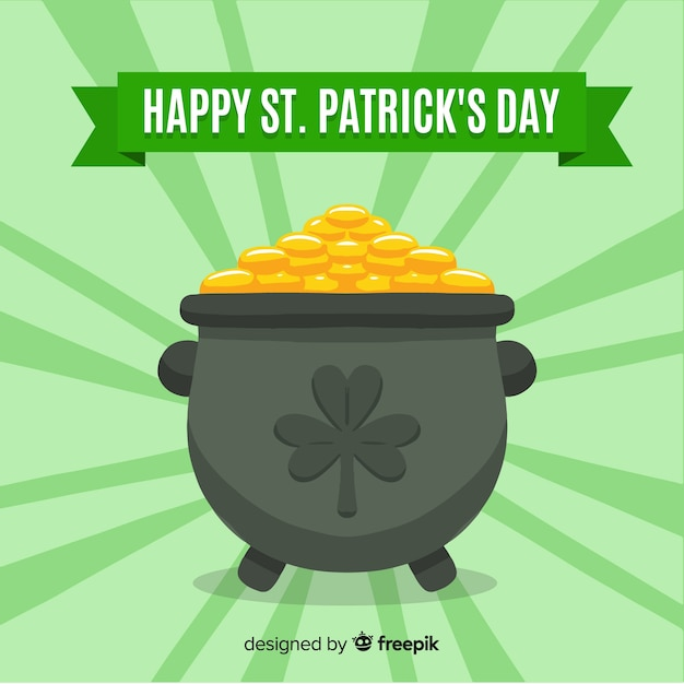 Gold cauldron st patrick's day background Free Vector