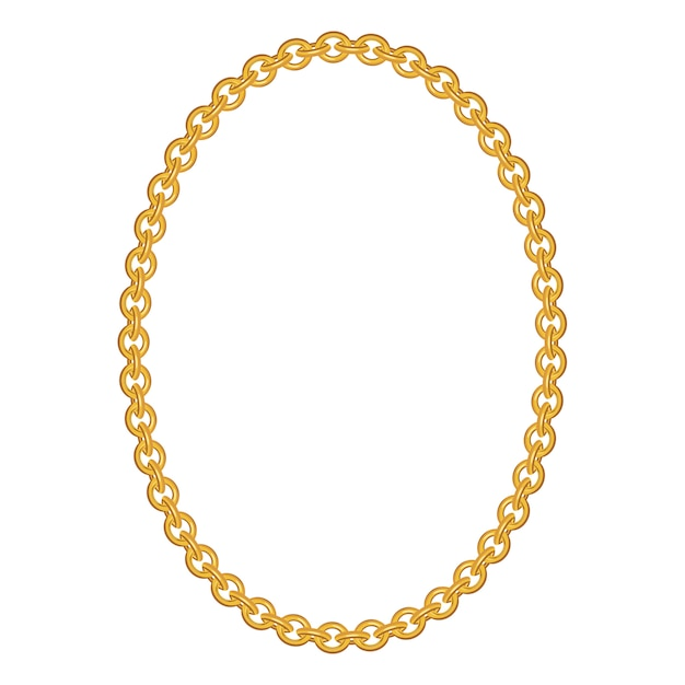 Gold chain jewelry isolated Premium Vector