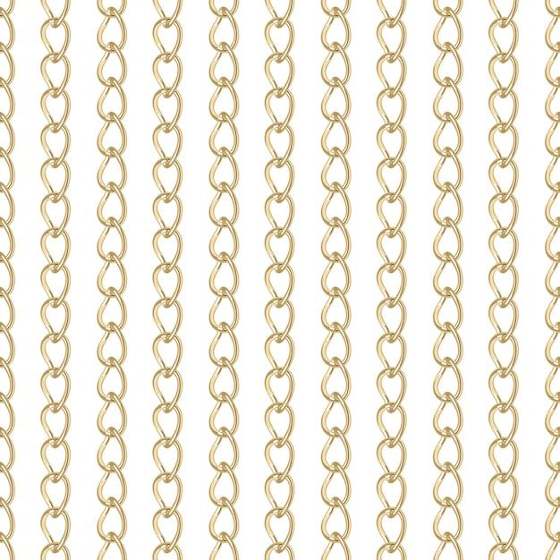 Gold chain jewelry seamless pattern. Premium Vector