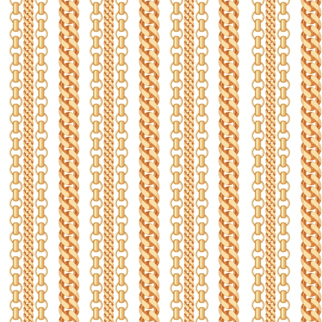 Gold chain jewelry seamless pattern. Premium Vector