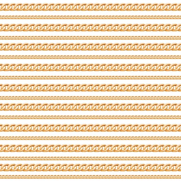 Gold chain lines luxury seamless pattern. Premium Vector
