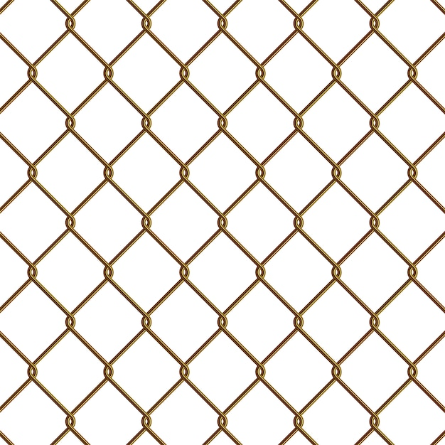 Gold chain link fence Premium Vector