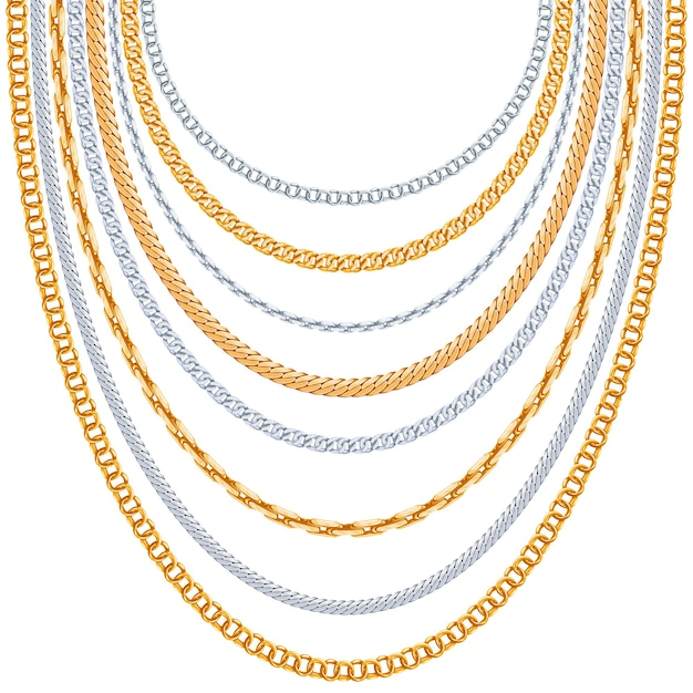 Gold chains  background. silver hanging, link metallic shiny Free Vector
