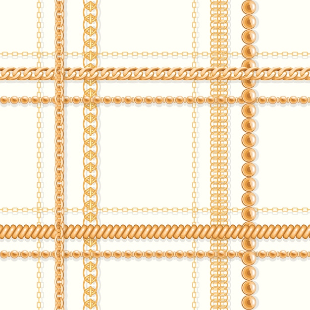 Gold chains and and beads on white luxury seamless pattern. Premium Vector