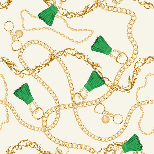 Gold chains luxury seamless pattern Premium Vector