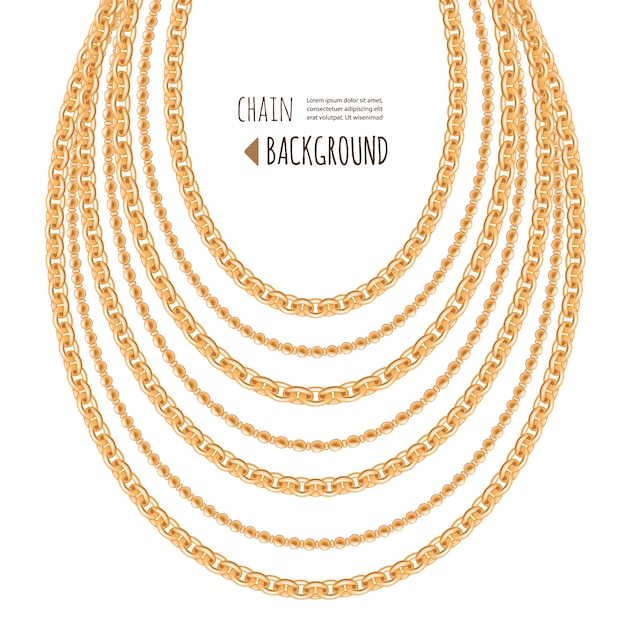 Gold chains necklace abstract background Premium Vector