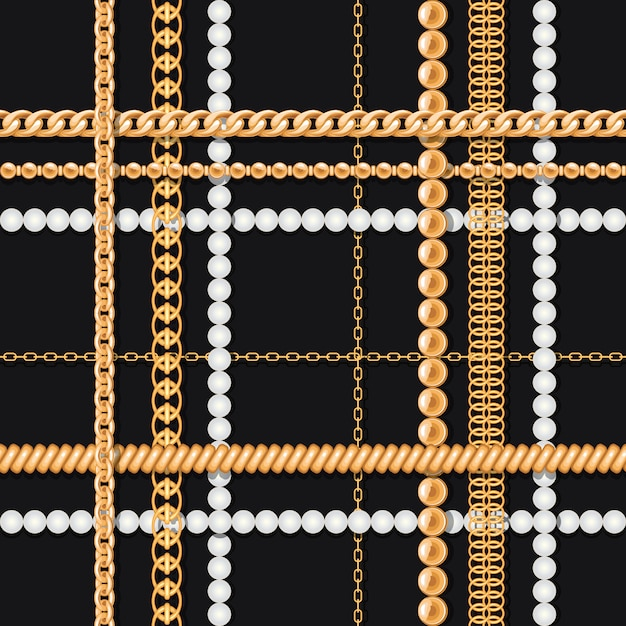 Gold chains and pearls on black luxury seamless pattern Premium Vector