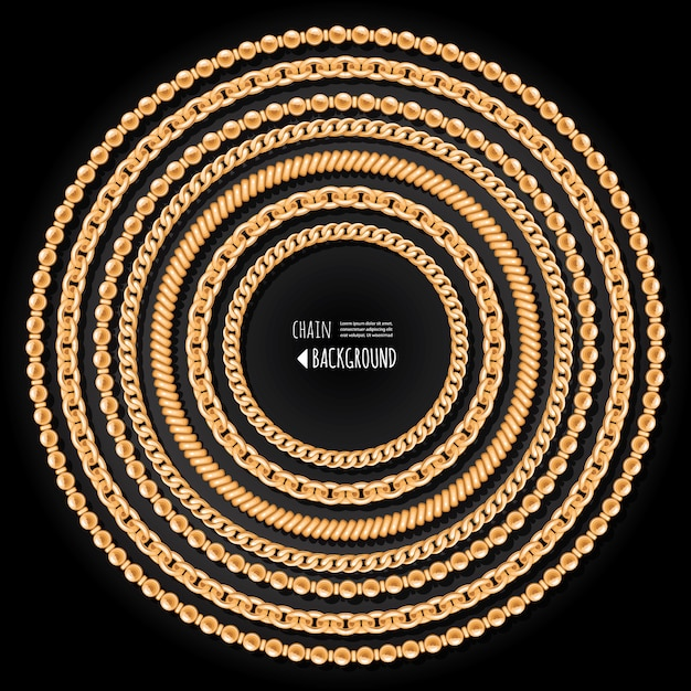 Gold chains round frame template on black background Premium Vector