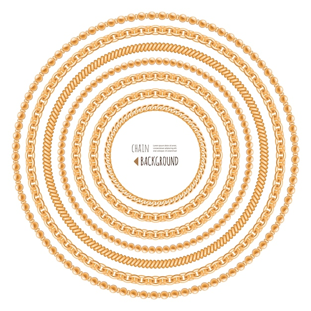Gold chains round frame template isolated on white. Premium Vector