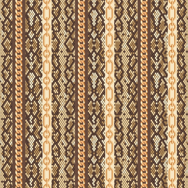 Gold chains snake skin seamless pattern Premium Vector