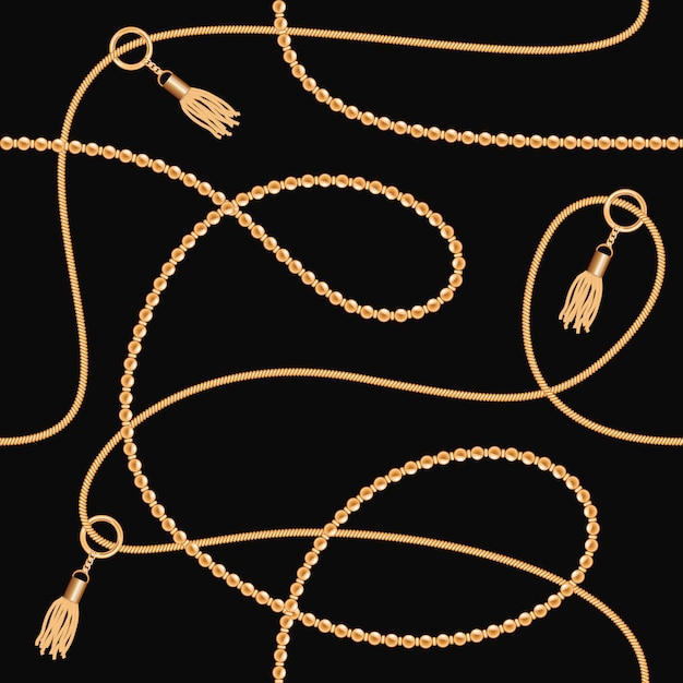 Gold chains with tassels seamless pattern Premium Vector