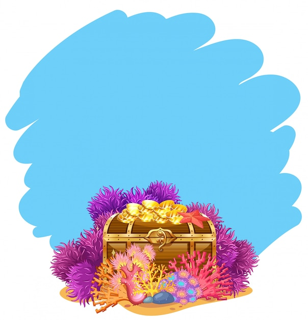 A gold chest underwater template Free Vector