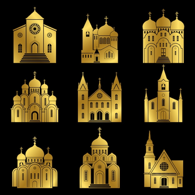 Gold christian church icons on black background Premium Vector