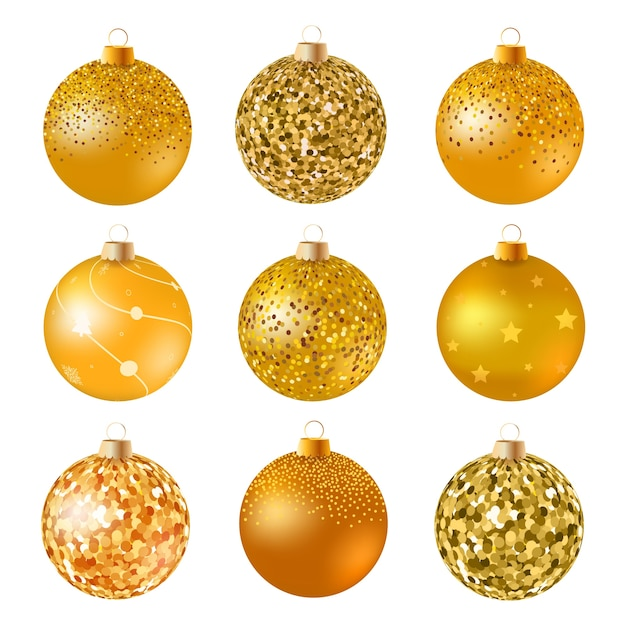 Gold Christmas Balls On White Surface Set Of Isolated Realistic Decorations Vector Illustration