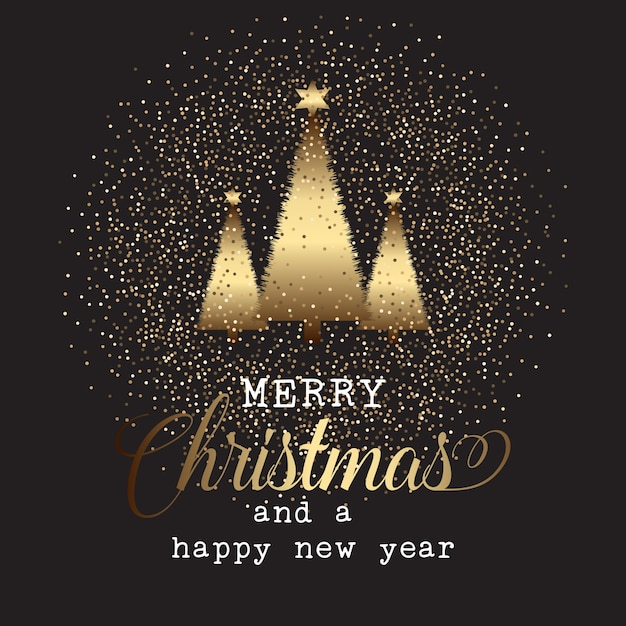 Gold Christmas Tree Background Vector Free Download
