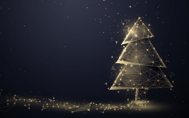 Gold christmas tree and sparkling lights garland from lines, triangles and particles. Premium Vector