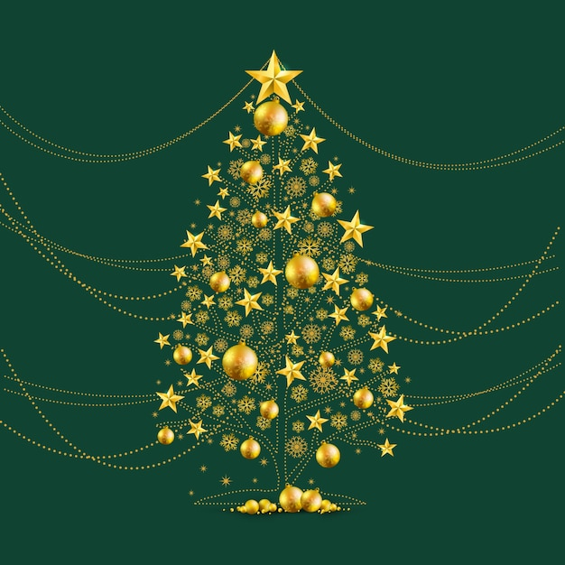 Gold Christmas Tree Vector Free Download