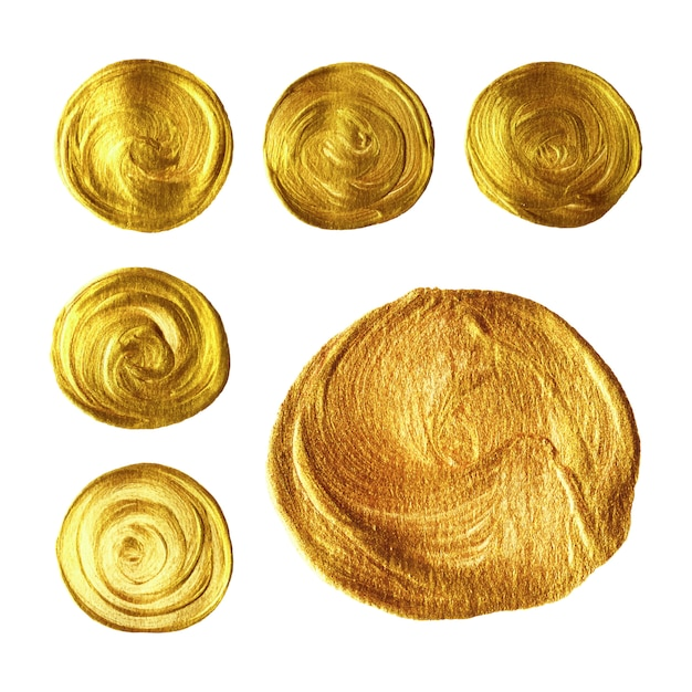 Gold circle brush hand painted collection isolated on white background Premium Vector