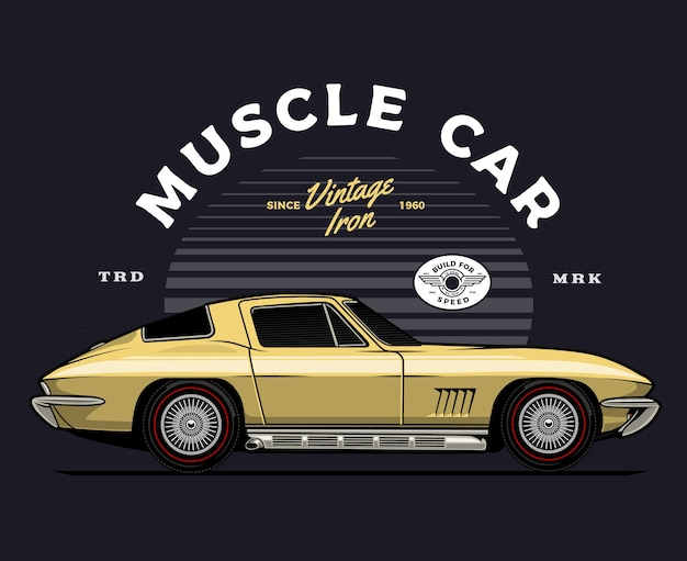 Gold classic car illustration Premium Vector