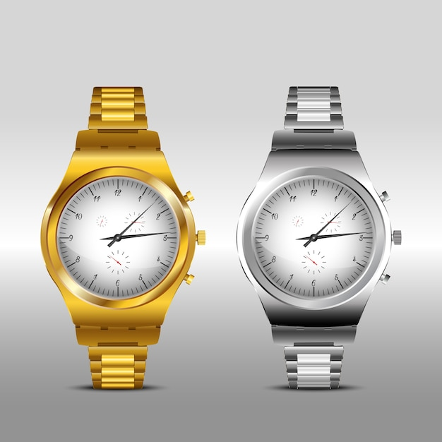 Gold and classic metal watches on white background Premium Vector