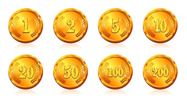金貨の通貨と価格と数字 Premiumベクター