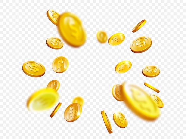 Gold coin splash bingo jackpot win casino poker coins vector 3d Premium Vector