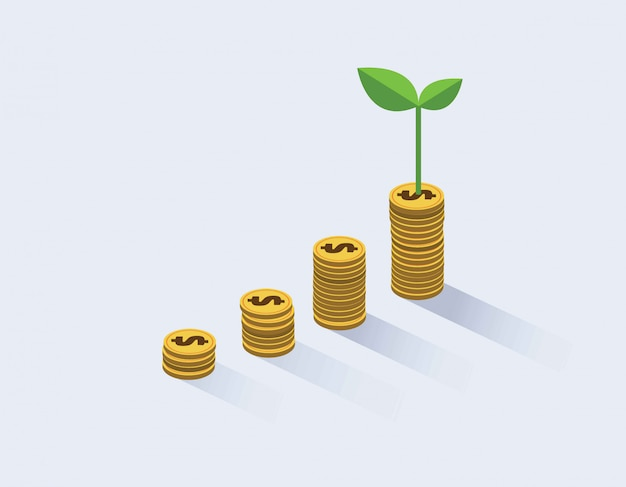 Gold coins growth and plant them. Premium Vector
