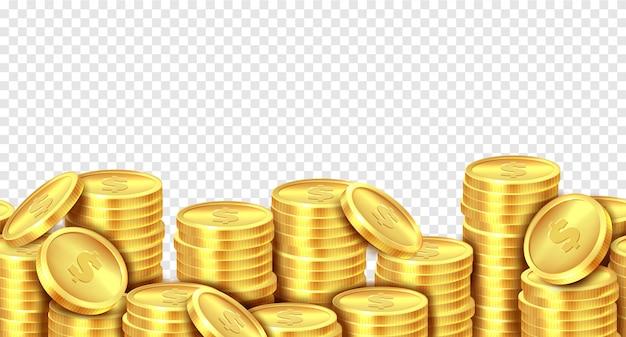 Gold coins stack. realistic golden coin money pile, stacked dollar lots pile cash bonus profits casino market income banner. Premium Vector