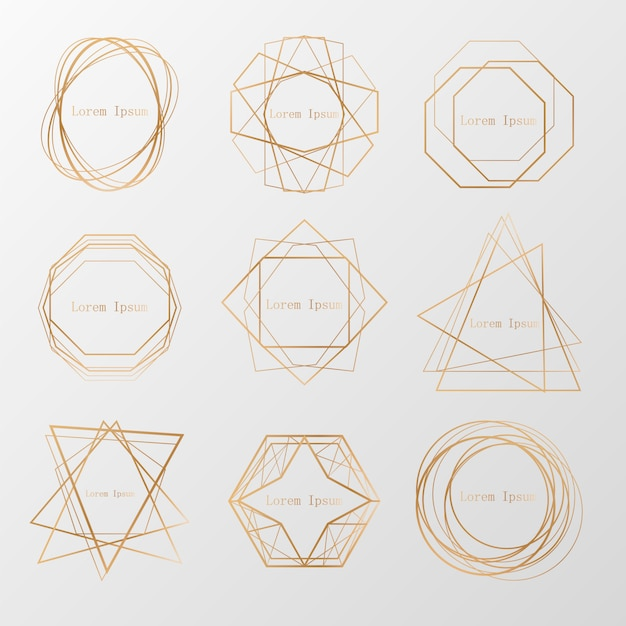 Premium Vector Gold Collection Of Geometrical Polyhedron Art Deco Style For Wedding Invitation Luxury Templates Decorative Patterns Modern Abstract Elements Vector Collection