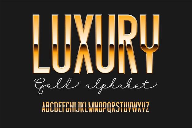 Золотой сжатый современный алфавит. металлический шрифт без засечек. технология типографии золотыми буквами. Premium векторы