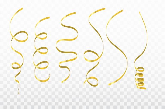 Gold confetti celebration carnival ribbons. Premium Vector