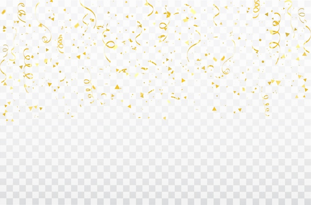 Gold confetti celebration carnival ribbons. Premium Vector
